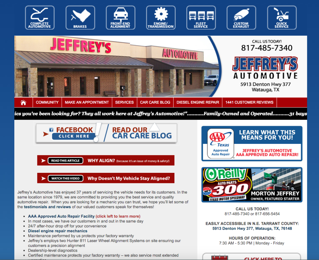 Example of Jeffrey's Auto Web Design