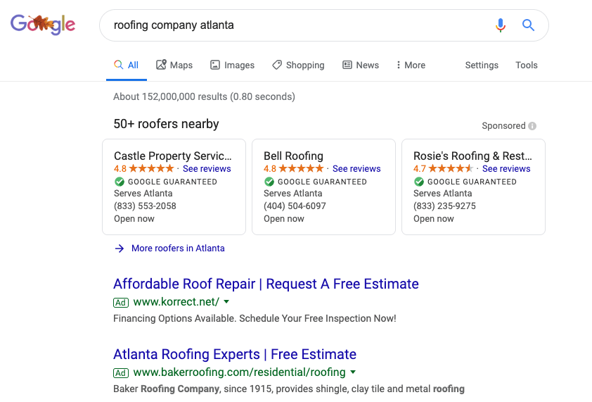 roofing SEO results